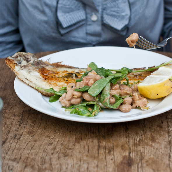 Dover sole, wild rocket and borlotti beans - Petersham Nurseries Cafe, Richmond, Greater London