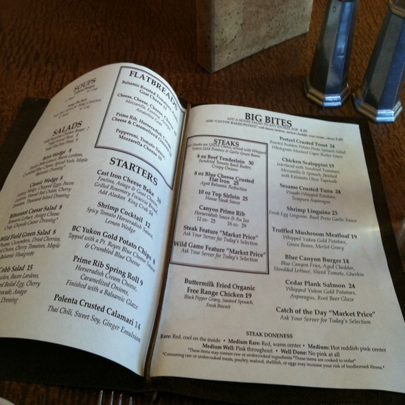 Menu - Blue Canyon Kitchen & Tavern - Missoula, Missoula, MT