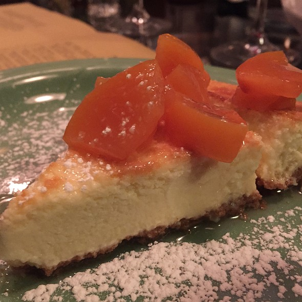 Ricotta And Goat Cheesecake With Stewed Peaches - Locanda Vini e Olii, Brooklyn, NY