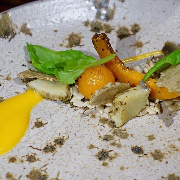 Sunflower salad – petals, heart, seeds, butternut squash, mustard frill, edlerflower vinegar - Piedmont Restaurant, Durham, NC