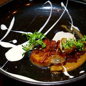 Pan-seared scallops, caramelized onion, bacon jam, shiitake mushrooms, rosemary cream - Piedmont Restaurant, Durham, NC