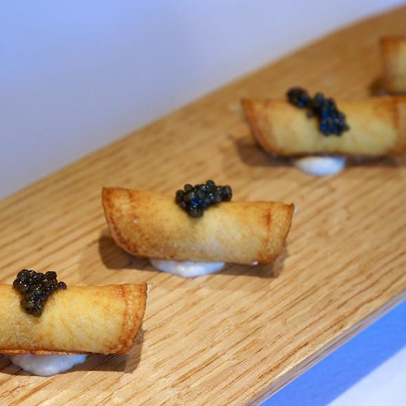 Smoked trout cannoli, American sturgeon caviar - Herons, Cary, NC