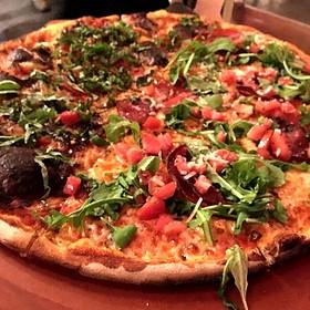 Half And Half Pizza Fire + Smoke And Pizza Italian Salami - Brickworks American Bistro + Spirits, Palm Springs, CA