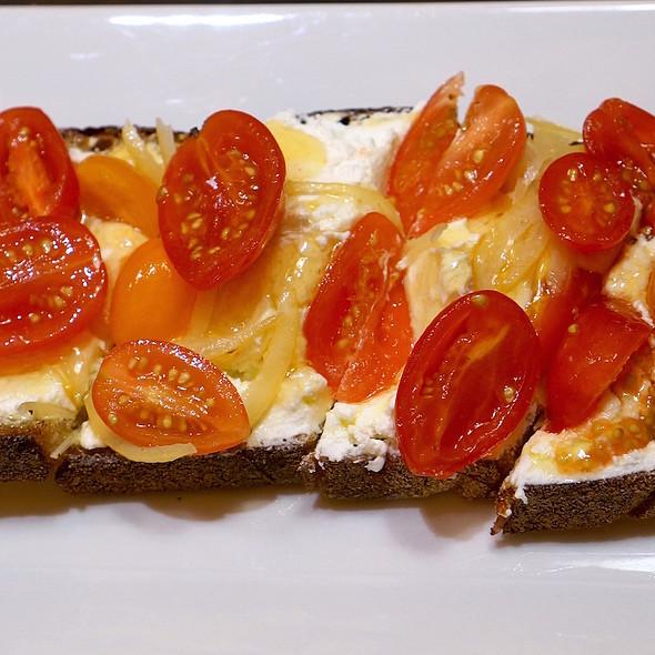 Ricotta tartine – grape tomato, lemon confirt, honey, olive oil, black pepper - Tartinery, New York, NY