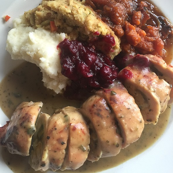 Turkey Roulade With Spinach Bread Pudding - Geoffrey's Restaurant, Malibu, CA