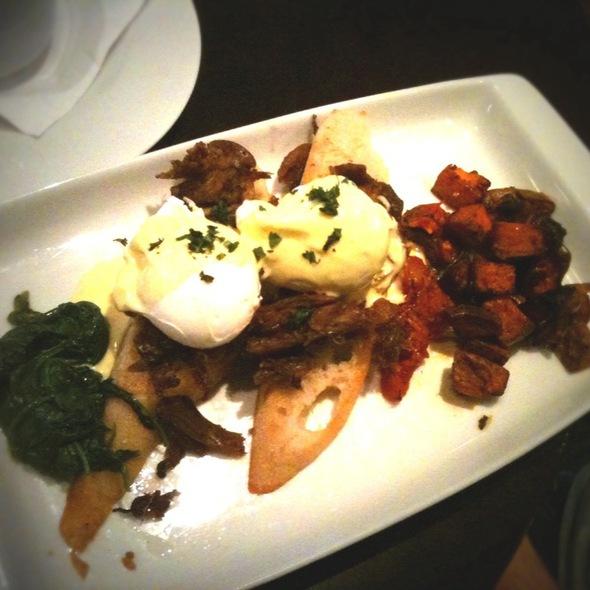 Duck Confit Benedict With Sweet Potato Hash - Mesh Restaurant, Indianapolis, IN