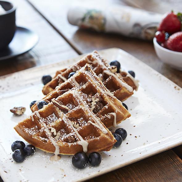 Cinnamon Roll Waffle maple cream cheese glaze, BBQ pecans, blueberries - The Social Club - Surfcomber South Beach, Miami Beach, FL