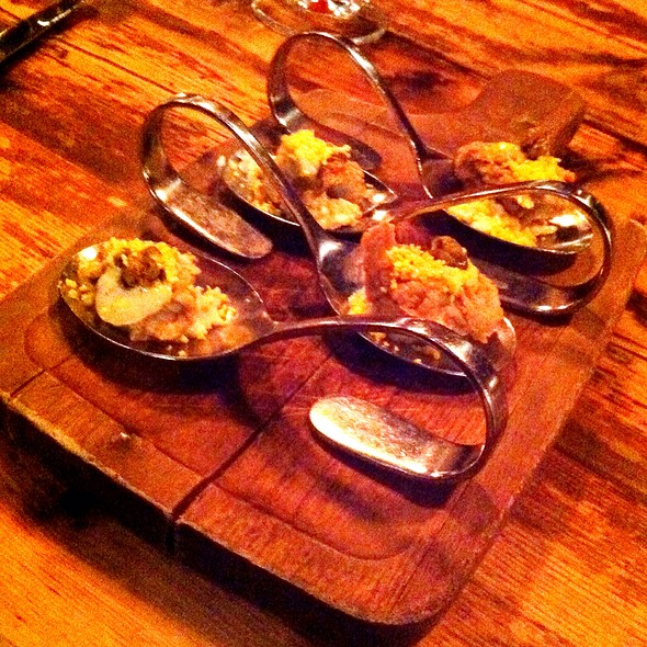 Fried Naked Cowboy - Oysters with Egg Salad and Capers - Girl & the Goat, Chicago, IL