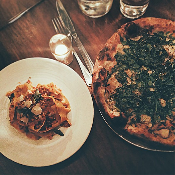 Papparadelle Bolognese And Arugula Pizza - Osteria La Buca, West Hollywood, CA