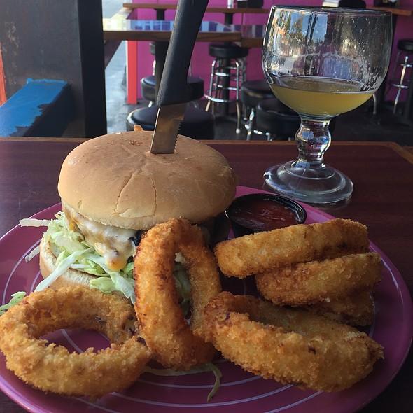 Meaty Mushroom Burger with Onion Rings - Hamburger Mary's, West Hollywood, CA