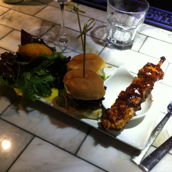 Spicy Lamb Burger, Chicken Skewer & Goat Cheese Mango Salad - Braai, New York, NY