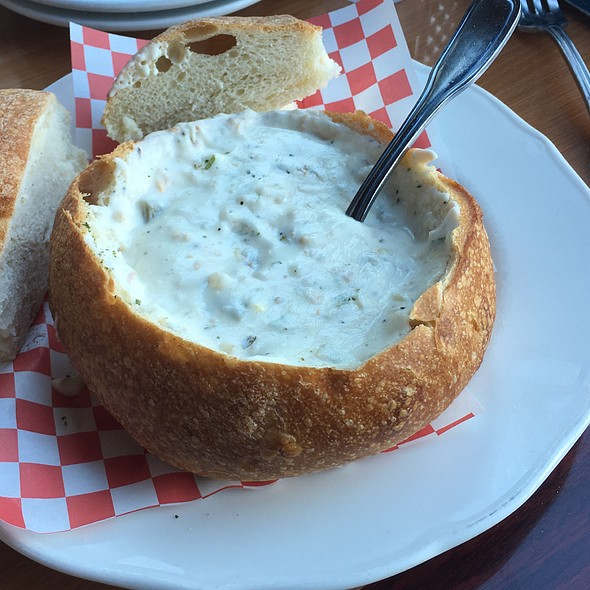 Clam Chowder On Sour Dough Bread - Abalonetti Bar and Grill, Monterey, CA