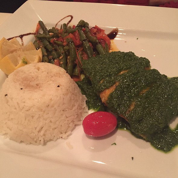 Grilled Salmon With Pesto Sauce - La Petite Maison - Atlanta, Sandy Springs, GA