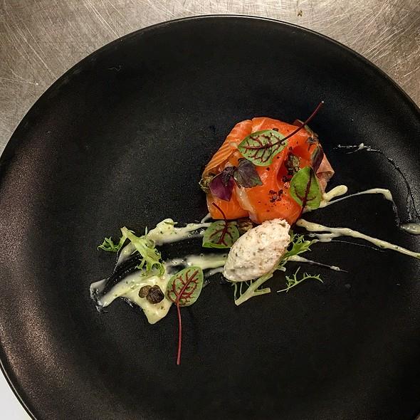 Cured Ora King Salmon, Parsley Aioli, Fried Capers, Caper Gelato - Tosca Ristorante, Washington, DC