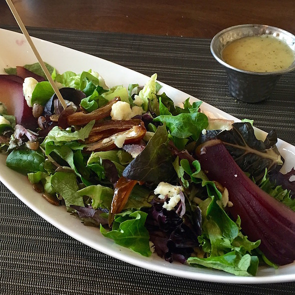 Gore Creek salad – port-poached pear, garden greens, gorgonzola, dates, pumpkin seeds, champagne vinaigrette - The 10th, Vail, CO