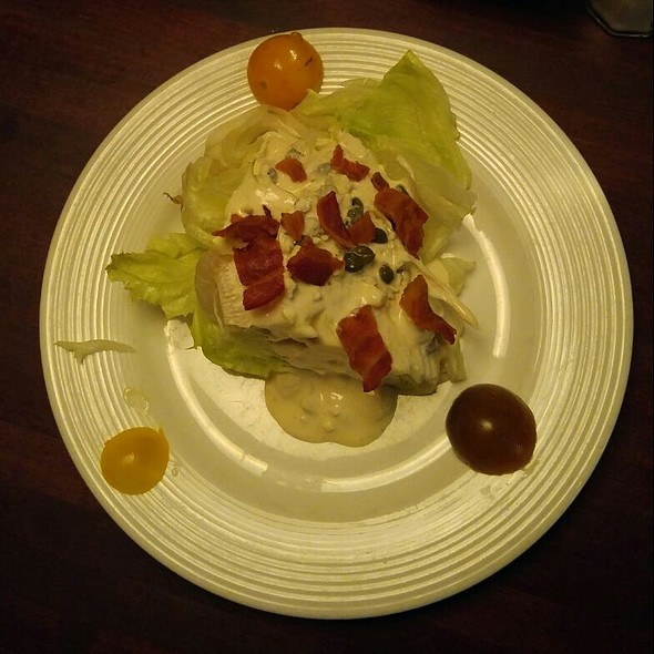 """Wedge"" Salad- Iceburg Lettuce, Smoked Bacon, and Caper Blue Cheese Dressing - North Beach Bistro, Atlantic Beach, FL"