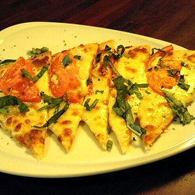 Tomato And Mozzarella Flatbread with Fresh Basil - North Beach Bistro, Atlantic Beach, FL