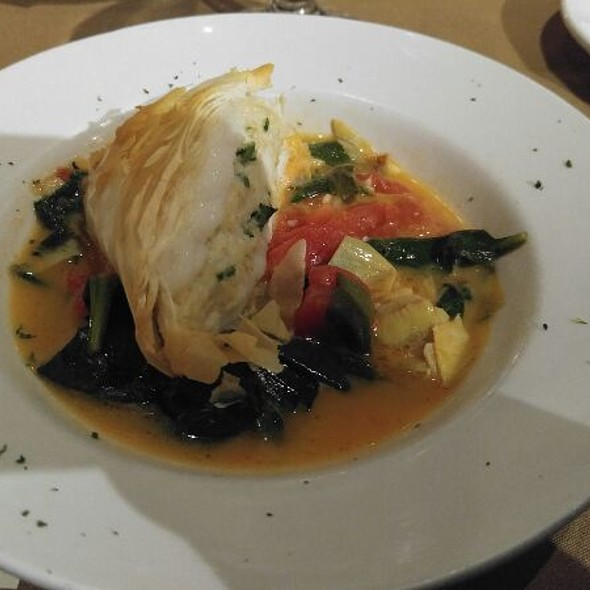 Sea Bass Wrapped In Phyllo With Saffron Sauce - Mere Bulles, Brentwood, TN