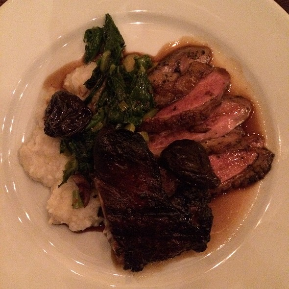 Grilled Duck Breast And Slow Cooked Duck Leg With Grits, Rapini, Red Wine, And Prunes - Camino, Oakland, CA