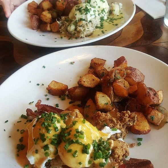 Fried Oyster And Smoked Bacon Benedict - Toulouse Petit Kitchen & Lounge, Seattle, WA