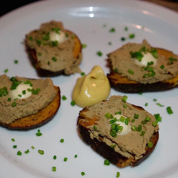 Chicken liver mousse crostini, sunchoke purée, Dijon mustard - Posh - Scottsdale, Scottsdale, AZ