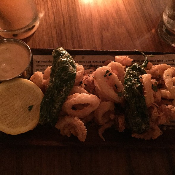 Crispy Calamari, Shishito Peppers, Chipotle Aioli - The Library at the Public, New York, NY