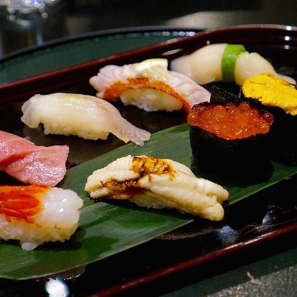 Assorted sushi –yellowfin tuna, botan ebi, fluke, snapper, uni, tamago, salmon roe - Hakubai - The Kitano, New York, NY