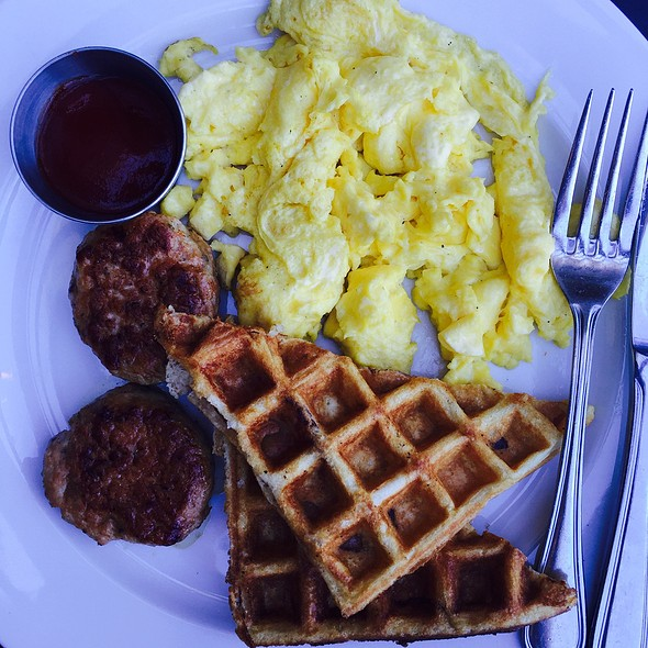 Waffle With Egg And Sausages - The Churchill, Los Angeles, CA