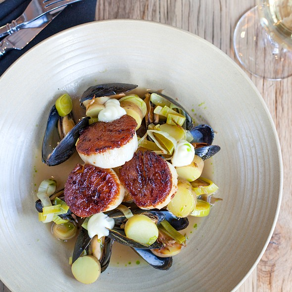 Roasted Scallops with Mussels - Jsix Restaurant, San Diego, CA