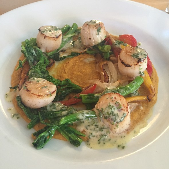 Seared Scallops With Rapini & Chickpea Puree - Provence Mediterranean Grill, Vancouver, BC