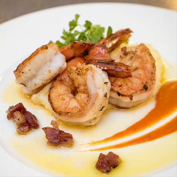 Jumbo Prawns, Pancetta, Stone Ground Grits, Pimento Coulis - Nob Hill Club at the Mark Hopkins, San Francisco, CA
