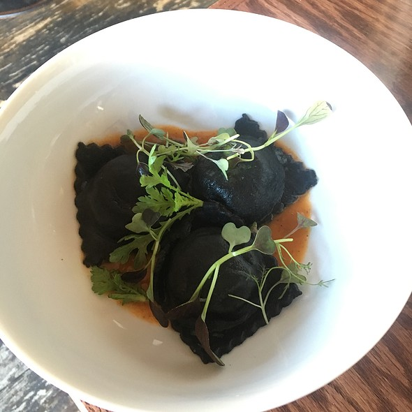 Potato And Garlic Stuffed Squid Ink Raviolli - Elements Café, Haddon Heights, NJ