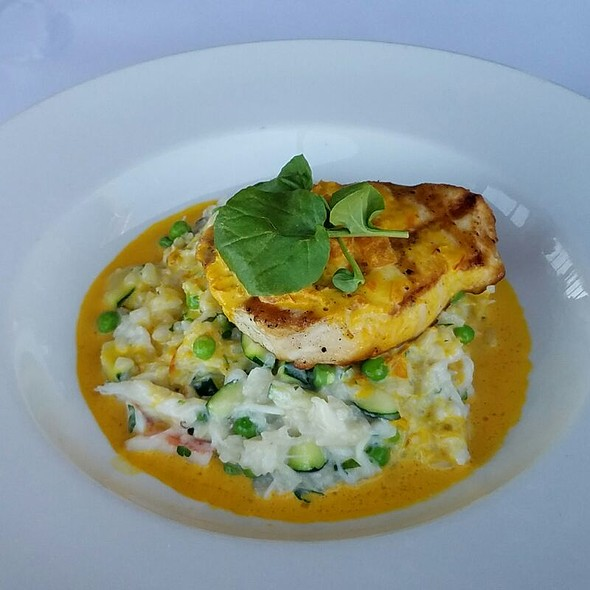 Grilled Escolar over squash, peas, dungeness crab risotto - The Waterfront Restaurant and Cafe, San Francisco, CA
