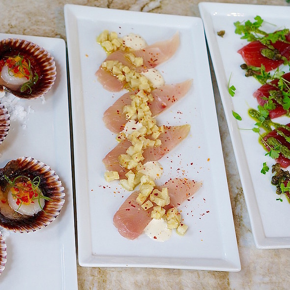 Crudo – scallops, yellowtail, ahi tuna - Culina, Los Angeles, CA