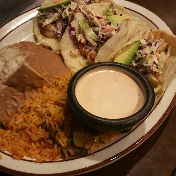 Chiccken Street Tacos With Sliced Guacamole, Refried Beans And Rice - Michoacan Gourmet Mexican Restaurant, Las Vegas, NV
