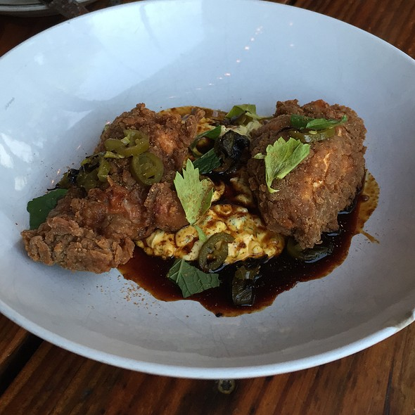 Fried Chicken, Egg Salad, Pickled Jalapeno, Chicken Caramel - Odd Duck, Austin, TX