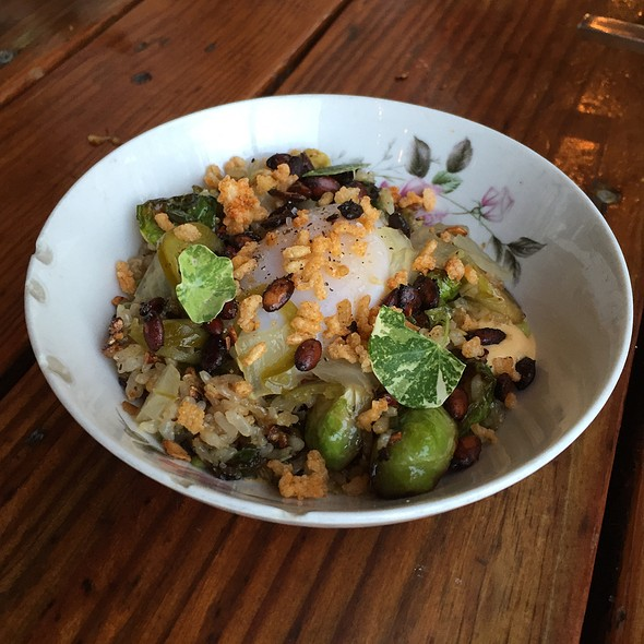 Duck Fat Fried Rice, Soft Egg, Ez Cheese, Brussels - Odd Duck, Austin, TX