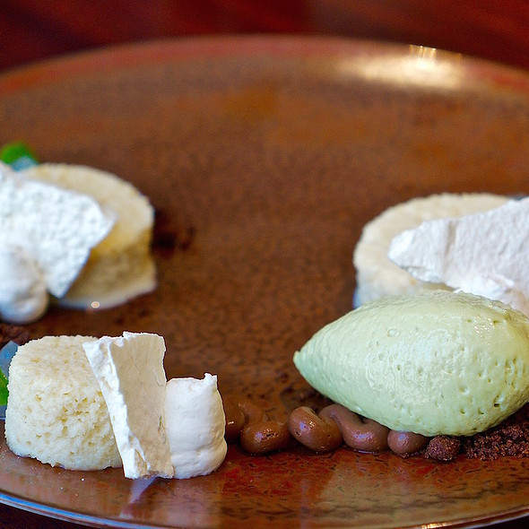 Tres leches cake, avocado ice cream, chocolate mousse, lime gel  - Allium, Chicago, IL
