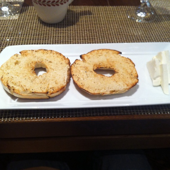 toasted bagel with cream cheese - Anasazi Restaurant, Santa Fe, NM