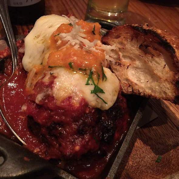 Caciocavallo Stuffed Meatballs, house ground short rib and pork meatballs, Sicilian oregano, Calabrian chile & pickled pepper - Barbuzzo Restaurant, Philadelphia, PA