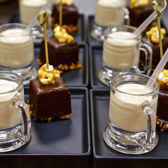 Brownie bites with butterscotch milkshake - Allium, Chicago, IL