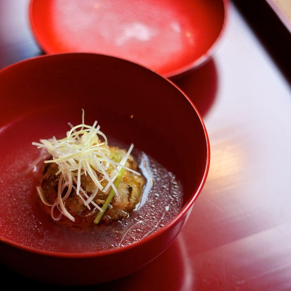 Clear Soup with Grilled Cabbage Ball, Leeks and Mitsuba  - Kajitsu, New York, NY