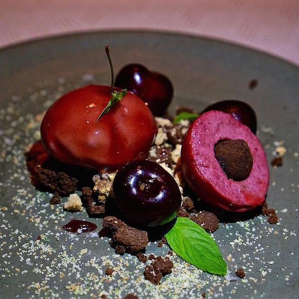 Cherries, bitter chocolate, cherry sorbet and mousse, mint - Aquavit, New York, NY