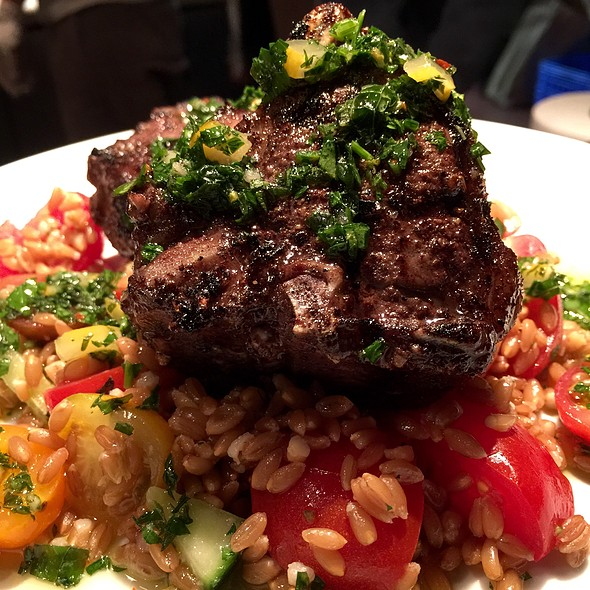 Grilled Lamb Chops — Farro, Cucumber, Tomatoes, House Chimichurri Sauce - Crow, Seattle, WA