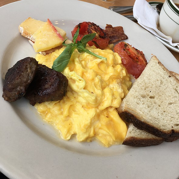 Scrambled Eggs with Local Sausage, Tomatoes and Artisanal Cheese - Lucky 32 Southern Kitchen - Greensboro, Greensboro, NC