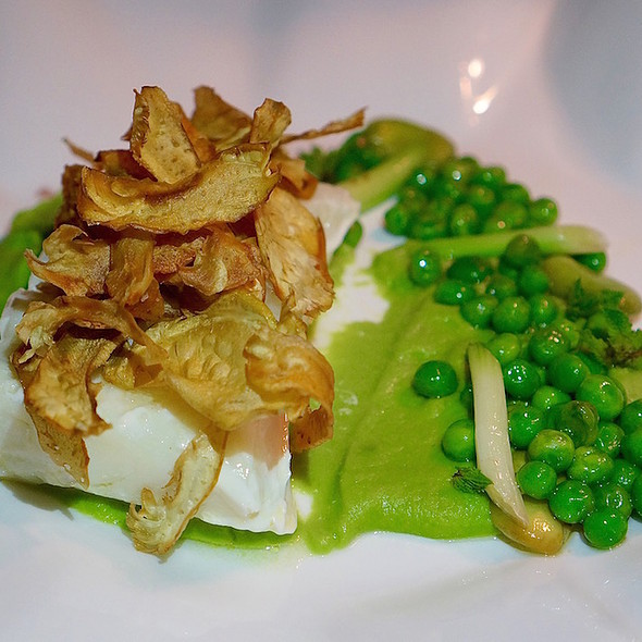 Local Halibut With Fava Beans, English Peas, Baby Carrots, Baby Turnips, Lemon Verbena Sauce - TOCA - Ritz Carlton Toronto, Toronto, ON