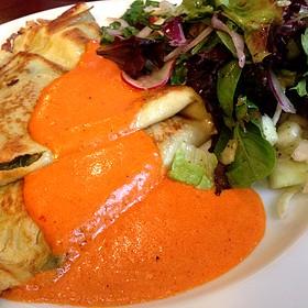 Mushroom Crepes W/ Micro-Green Salad - Django Restaurant, Des Moines, IA