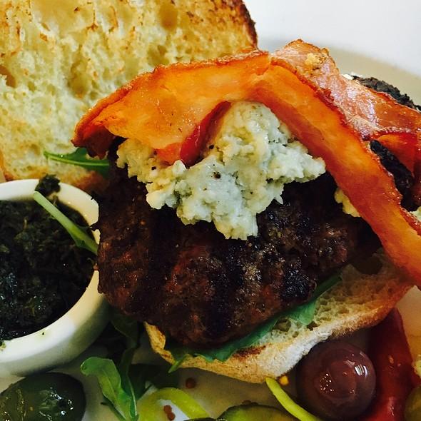 Grilled Sirloin Burger - Monti's Rotisserie & Bar, Santa Rosa, CA