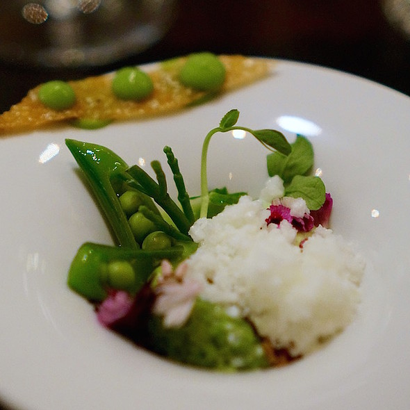English peas, chicken skin chip - Alo Restaurant, Toronto, ON