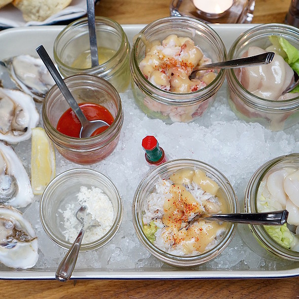 Tacklebox – Raspberry Point PEI oysters, Steamed dungeness crab, steamed lobster, raw albacore tuna, We Wai Kai scallops - YEW seafood + bar - Four Seasons Hotel - Vancouver, Vancouver, BC